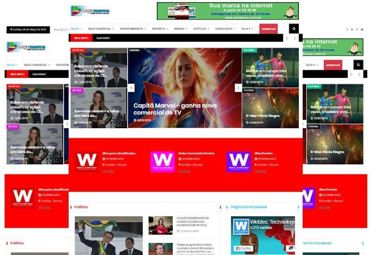 Site pronto para notícias e guia comercial integrado com whatsapp